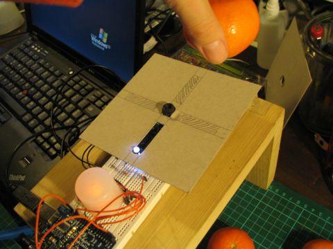 Farbdetektion eines orangenen Objektes.