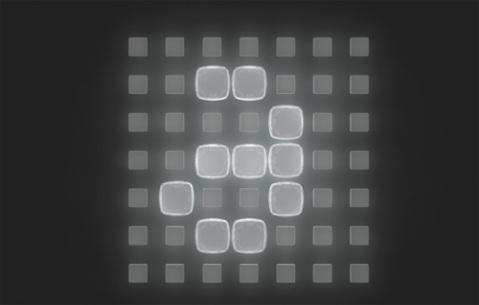 Simulations-Rendering eines Displays mit verformbaren Silikon-Pixeln, die sich beim Zusammenquetschen vergrößern und auch mehr Licht durchlassen