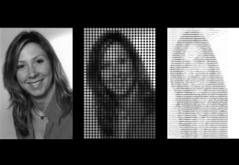 Pattys Portrait gepixelt, über dots und über Buchstaben/ASCII-grafik